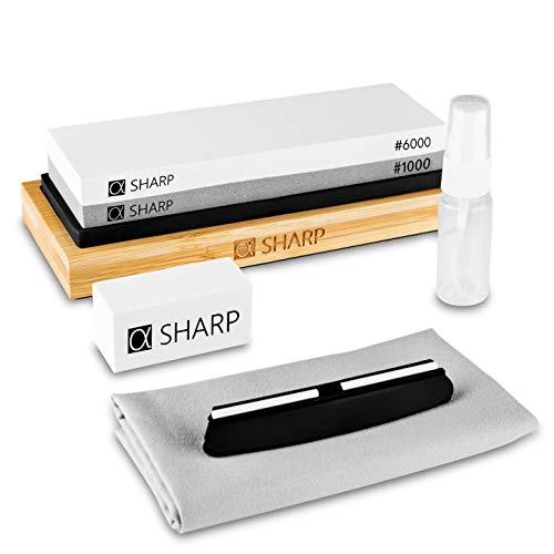 SHARP - Messerschärfer Profi mit Zufriedenheitsgarantie durch schnelle Ergebnisse - Schleifstein zum Messer schärfen wie EIN Sternekoch mit einfacher Handhabung - Whetstone Knife