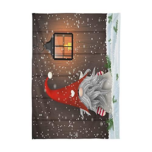 Mantel de Navidad XIANGYANG - Mantel de Tela Resistente al Hierro y a Las Manchas con Estampado de Tomte navideño,Cuadrado de 60 'x 60'