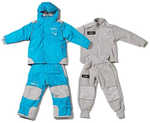 Kindihääs - Kinder 4in1 Skianzug Regenanzug Fleeceanzug - Jungen Mädchen Unisex Schneeanzug wasserdicht - 4tlg Jacke & Hose - Aqua Gr. 92/98