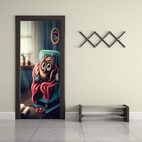BXZGDJY 3D Tür Hintergrundbild Selbstklebend Film - Süße Eule 80X200Cm Pvc Abnehmbare Tür Film Diy Aufkleber Blume Wohnzimmer Schlafzimmer Kinder Restaurant Büro Bar Tür Kunst Dekoration