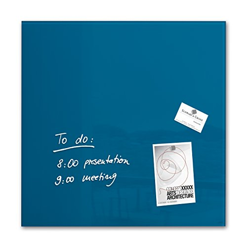 Sigel GL252 - Pizarra de cristal magnética, 48 x 48 cm, azul petróleo