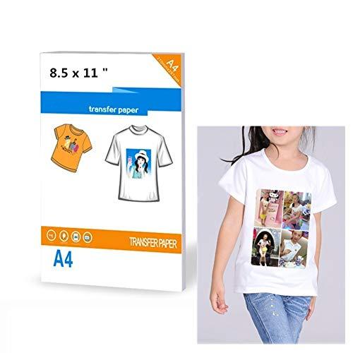 20 fogli di carta trasferibile per stampanti a getto d'inchiostro per t-shirt dai colori chiari, dimensioni 21,6 x 27,9 cm