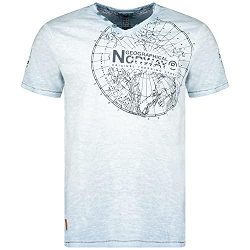 Geographical Norway Jimerable Men – Camiseta de Manga Corta para Hombre – Camiseta Moderna – Cuello en V Estampado, Corte Regular – Ropa de Manga Corta Marca Tops Classic (Azul Celeste, XL)