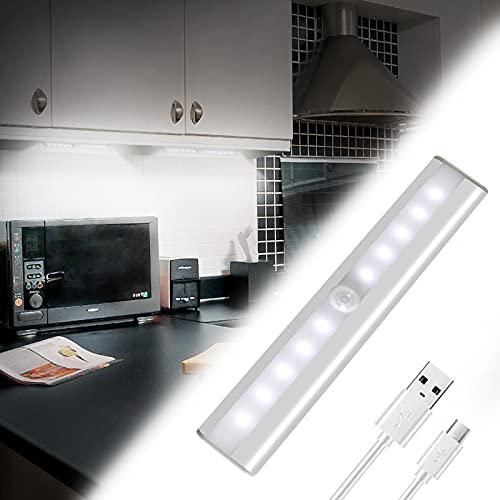 Lámpara LED de Armario, 10 LED USB Recargable Barra de Luz Làmpara con Sensor de Movimiento Inalámbrico para Armario, Gabinete, Pasillo, Baño, Cajón