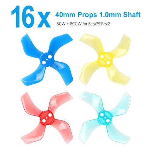 BETAFPV 16pcs 40mm 4-Blade Props with 1.0mm Shaft Micro Whoop Propellers for Inductrix FPV Plus Tiny 7 Beta75S Beta75 Pro 2 etc