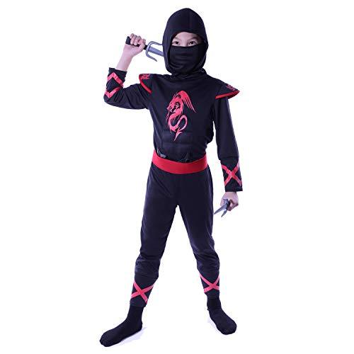 Sincere Party Disfraz de Ninja dragón de Fuego para niños, Traje de Juego de rol Ninja con Accesorios 7-9 años