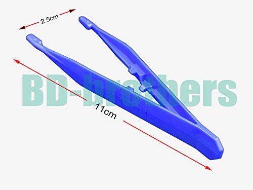 11x 2,5cm blau Kunststoff Pinzette Zange gerade Kopf Pinzette Zange für med Kit DIY Gelnägel/lot