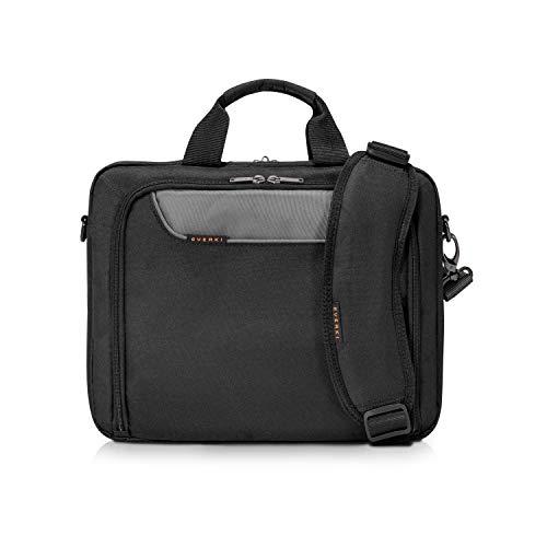 Everki Advance - Bolsa portátil para notebooks de hasta 35.8 cm (14.1 pulgadas) con compartimento para accesorios, forro interior de alto contraste y pestaña de carro, negro