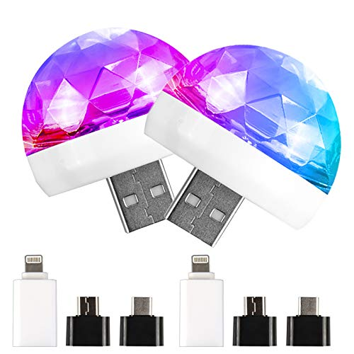Disco Licht, USB Mini Discokugel,[2 Packungen] Party Lichter Sound aktiviert, Halloween DJ Disco Bühnenlichter-Multi Farben LED Auto Atmosphäre Licht,Magic Strobe Licht für Kirche, Karaoke, Hochzeit