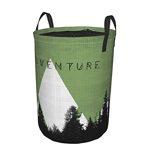 Storage Basket,Forest With Halftone Effect Hipster Typography Camping In Mountains,Collapsible Large Laundry Hamper with Handles 19'X14'