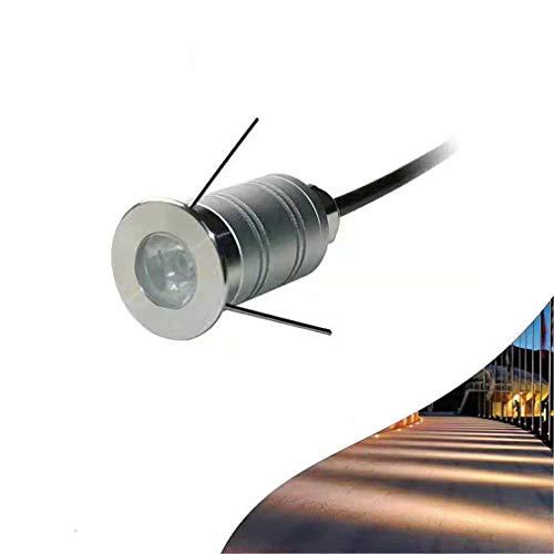 LHY LIGHT 1W LED Schritt Bodenleuchten 15 ° Engstrahlend Spotlight IP67 wasserdichte Wandleuchte U-Bahn im Freien Landschaftsbeleuchtung, Warmweiß