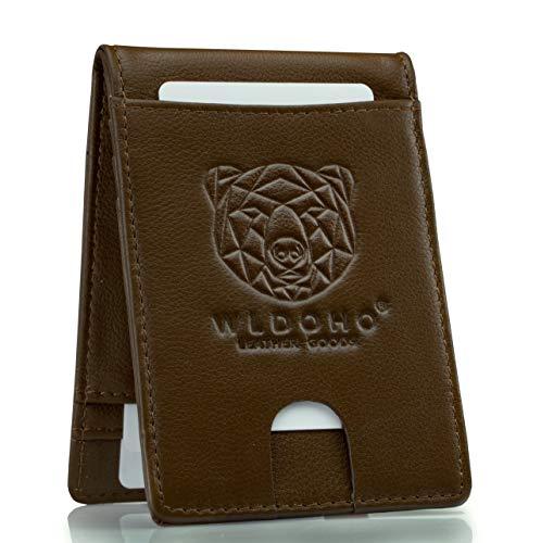 WLDOHO Cartera Delgada de Cuero para Hombre I Tarjetero con Protección RFID I Estuche para 6 Tarjetas Bancarias y Pinza para Billete I Monedero con Cierre Magnético (Marrón)