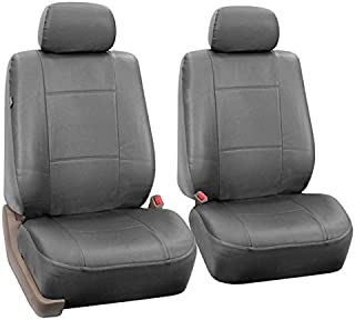 FH Group PU002102 Classic PU Leather Pair Set Car Seat Covers, Airbag Compatible, Solid Gray- Fit Most Car, Truck, SUV, or Van
