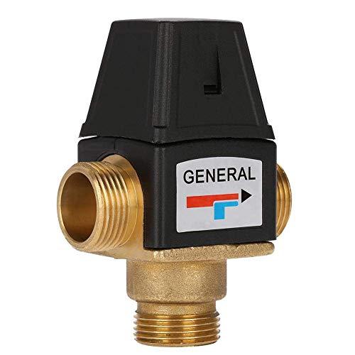 YUQIYU Latón válvula de 3 vías DN20 Rosca macho de latón válvula termostática de mezcla for el calentador de agua solar