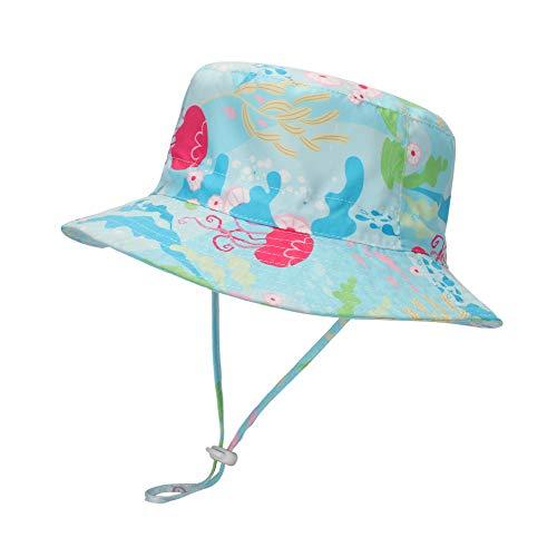 LACOFIA Cappello da Sole per Bambino Cappellino Estivo da 50 + UPF Protezione Solare Neonato Berretto da Spiaggia con Cinturino sottogola Regolabile Medusa Blu 4-6 Anni