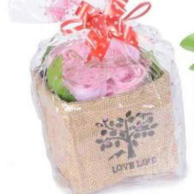 Sweet Mini Rosen Geschenk aus rosa Baumwoll Handtüchern gefaltet in einem Jutekorb 11 x 11 x 9,5 cm Groß.