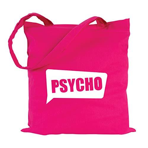JUNIWORDS Jutebeutel, Wähle ein Motiv und Farbe, Psycho (Beutel: Pink, Text: Weiß)