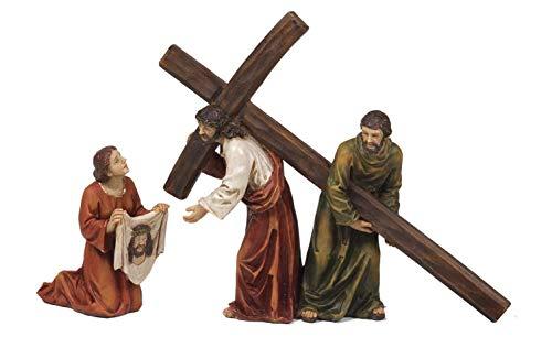 Set Gesù Porta Croce, Veronica E Samaritano In Resina Presepe Pasquale Cm.16,5 X 19 By Paben