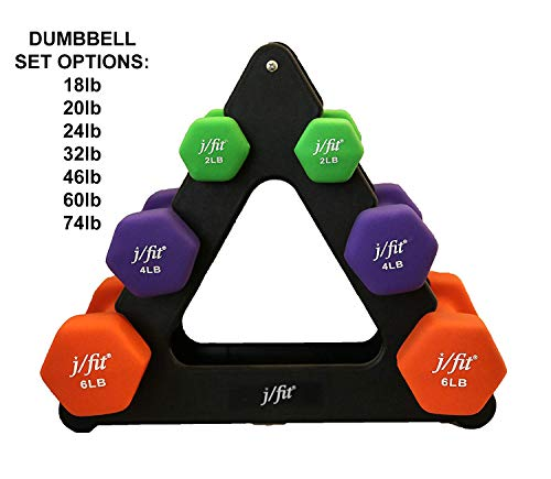 j/fit Dumbbell Set w/Durable Rack | Solid Design | Double Neoprene Coated Workout Weights Non-Chip and Flake | Dumbbells Sets...