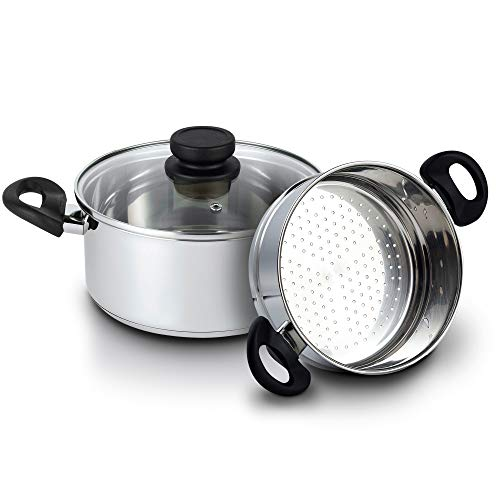 Nevlers Stainless Steel 3 Quart Steamer Pot with 2 Quart Steamer Insert and Glass Vented Lid - 3 Piece Set - Safe and Durable - Great Addition to Every Kitchen
