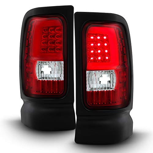 ACANII - For 1994-2001 Dodge Ram 1500 94-02 2500 3500 Red Clear LED Tube Tail Lights Lamps