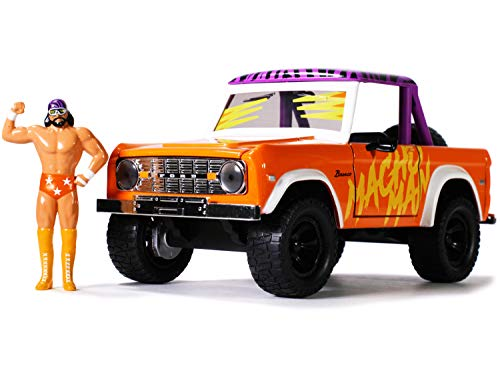 Jada Toys WWE 1:24 1973 Ford Bronco Die-cast Car with 2.75' Macho Man Randy Savage Figure, Toys for Kids and Adults