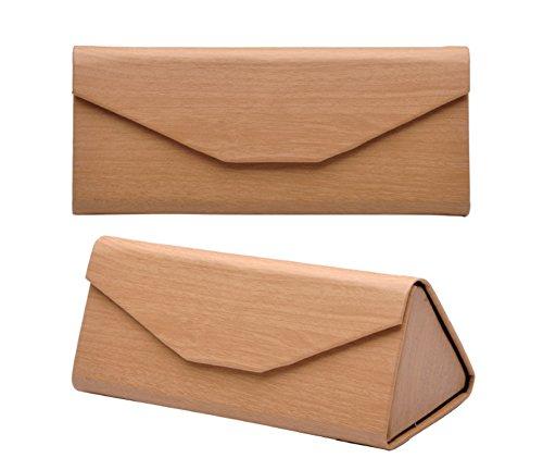 Demarkt 1x Brillen Case Brillenetui Kreativ Dreiecksform Design Faltbar Hochwertiges Leder Korn Glasses Case für Sonnenbrillen,Brillen-Box Schwarz