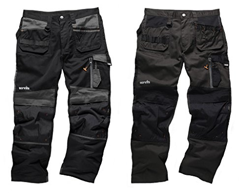 Scruffs 3D Trade Trouser Work Cordura Holster Pants Free Knee Pad, Twin Pack