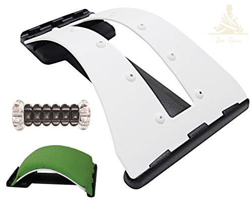 Zen Guru Lower Back Pain Relief Device - Back Stretcher and Foot Massage Roller Set - Spinal Decompression - Lumbar Support - Posture Corrector - with Magnet Therapy