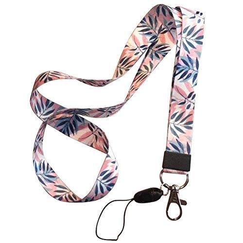 Qinlee Correa del teléfono móvil Flor Lanyard Correa para el Cuello para Llaves ID Card S For USB Badge Holder DIY Cuerda para Colgar Hojas Rosadas Colgantes para móviles