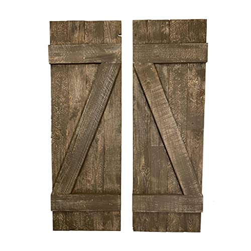 BarnwoodUSA | Rustic Farmhouse Window Shutters (Set of 2) | Made of 100% Reclaimed and Recycled Wood | Rustic Interior Window Shutters | Traditional Country Style Home Decor | Espresso Brown