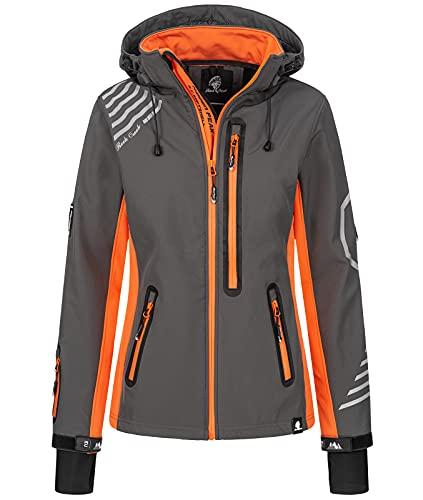 Rock Creek Damen Softshell Jacke Windbreaker Regenjacke Übergangsjacke Softshelljacke Damenjacke Regenmantel Outdoorjacke D-402 Anthrazit-Orange 4XL