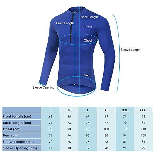 SKYSPER Radtrikot Herren Fahrradbekleidung Blaue Langarmjacke MTB Mountain für den Herbst Bequem Atmungsaktiv für Outdoor-Sportarten Fahrrad - 3