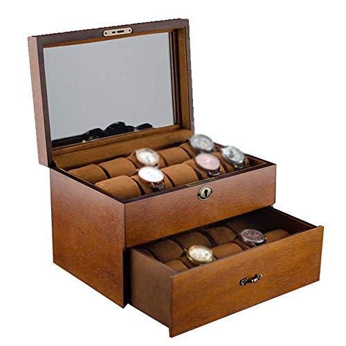 Caja de almacenamiento Caja de reloj de 2 capas Joyería Vitrina de...