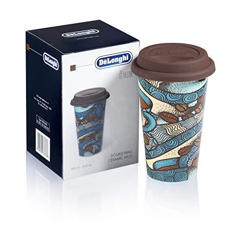 De'Longhi DLSC055 Tazza Termica in Ceramica Doppia Parete, 300 milliliters, con Coperchio Silicone,