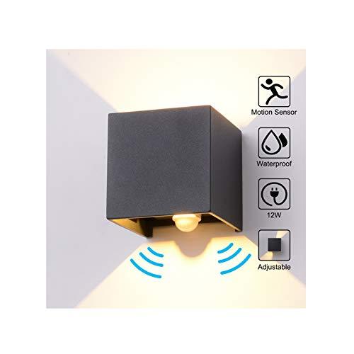 Wandleuchte Bewegungsmelder Aussen/Bewegungsmelder Innen LED Wandlampe, 12W Warmweiß Wasserdicht Verstellbare Aussenlampe, Wandleuchte Sensor für Garten/Flur/Weg Veranda Hell (Anthrazit)