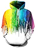 RAISEVERN Unisex Cool Hoodie Funny Drawstring Pullover Sweatshirts 3D Rainbow Melting Paint Print Long Sleeve Shirts Lightweight Colorful White Hooded with Pockets for Men Women