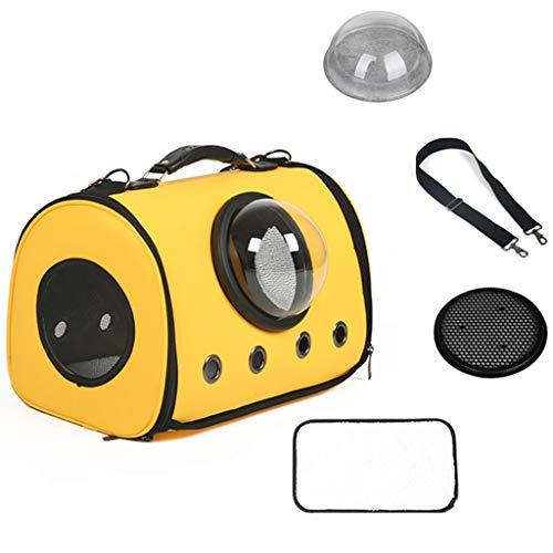 DWW Tragbare Transportbox Katze Rucksack Hund Große Handtasche, wasserdichtes Kunstleder, Raumkapsel Bubble Reisegepäck, leichte Tasche für mittlere Katzen Welpen (Farbe : B)
