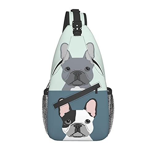 Jeezshop French Bulldog Cute Dog Sling Bag For Men And Women,Multi Pocket Chest Package Crossbody Shoulder Bag For Cycling Sports Travel Hiking Work.