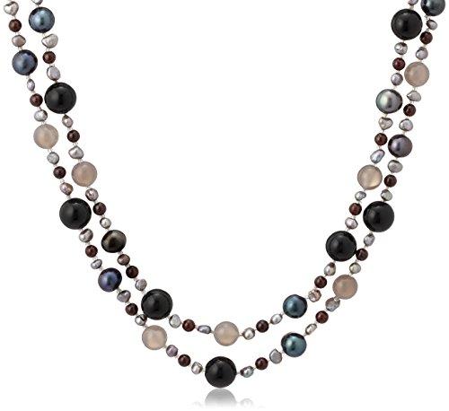 [ピュアパール] Pure Pearl 淡水パール&Bカルセドニー&ガーネット&アゲート ネックレス ブラック PP1279N-BK(100)