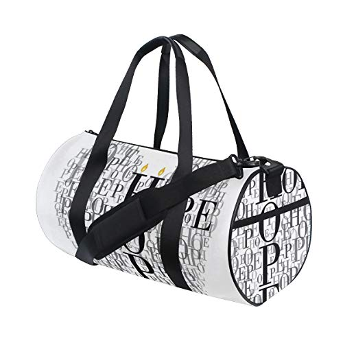 ZOMOY Gym Bag,Heart Shaped Hope Words Romantic Illustration With Candles,New Canvas Print Bucket Sports Bag Fitness Bags Travel Duffel Luggage Canvas Handbag
