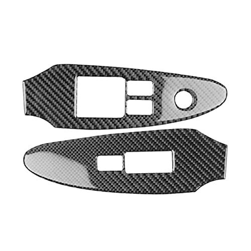 ZHANGJIN 2pcs Coche Ventana de elevación del Interruptor del Interruptor del Interruptor Ajuste para Nissan 370Z 2009-2020 Fibra de Carbono ABS Pegatina de automóvil Accesorios de Estilo