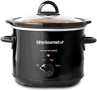 Elite Gourmet MST-350B Electric Oval Slow Cooker, Adjustable Temp, Entrees, Sauces, Stews & Dips, Dishwasher Safe Glass Lid & Crock (3.5 Quart, Black)
