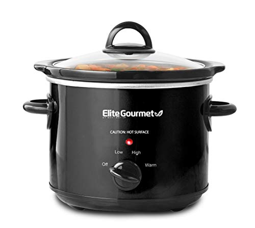 Maxi-Matic Elite Gourmet MST-350B Dishwasher-Safe Glass Lid & Ceramic Pot Electric Slow Cooker, Adjustable Temp, Entrees, Sauces, Stews and Dips, 3 Qt Capacity, Black