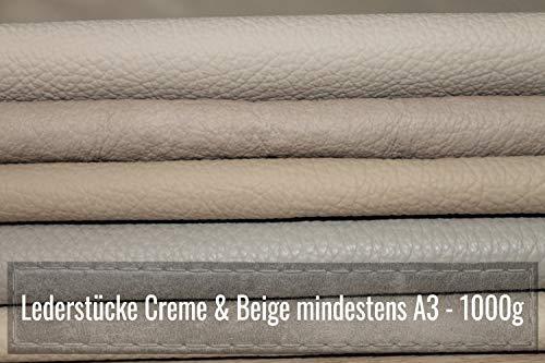 Retales de piel A3 – Piel para manualidades 1 kg – Surtido beige crema (varios tonos) – Todas las piezas Mind. DINA3 – para manualidades y costura