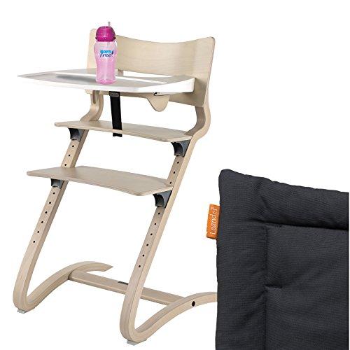 Leander hoge stoel white wash compleet pakket met veiligheidsbeugel, tafel, bornfree blikbeker en zitkussen antraciet