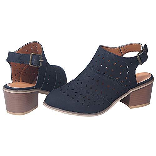OcaseQ Women Fashion Block Heel Court Shoes High Heel Platform Sandal Ankle Strap Hollow Closed Toe Wedge Shoes Ladies Round Toe Buckle Shoes,Black,35
