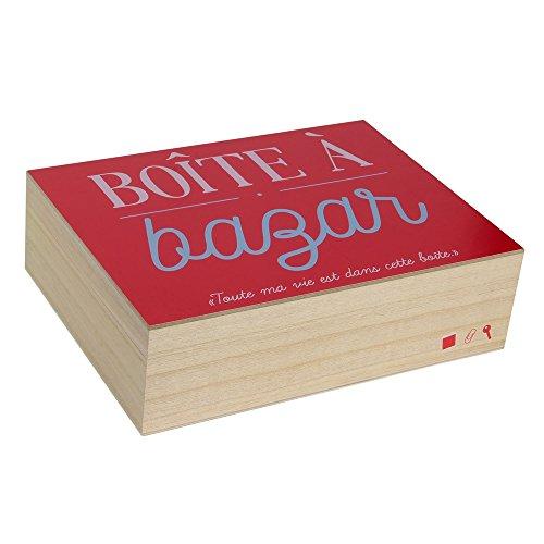 LA BOITE A BT6674 Boite en Bois pour Bazar, Beige-Rouge, 23,7 x 18 x 7 cm