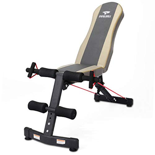 Adjustable Weightlifting Bed Dumbbell Bench sit-ups Fitness Equipment Household Multifunctional Elastic Rope Double Folding Abdominal Exercise Chair