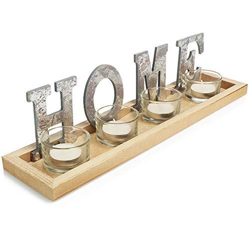 com-four® Letra Decorativa en Aspecto metálico con luz - Letra Home con 4 Luces - Letra Decorativa de pie - Bandejas Decorativas, 36x9x8.3cm